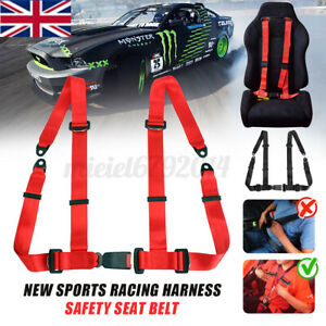 4 Point Black Car Racing Bucket Seat Belt Harness Adjustable Universal Design