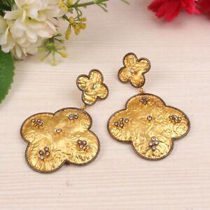 Yellow Gold Plated 925 Silver Cz Gemstone Flower Design Wedding Earrings