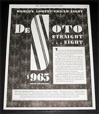 1930 OLD MAGAZINE PRINT AD, DE SOTO STRAIGHT EIGHT, WORLD'S LOWEST PRICED EIGHT!