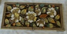 ENGLISH arts & craft multi flower antique PERIOD 2 TILE panel colourful
