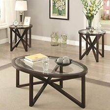 Coaster 701004 3 Piece Glass Top Coffee Table Set in Cappuccino NEW & Coaster Coffee Table Tables | eBay