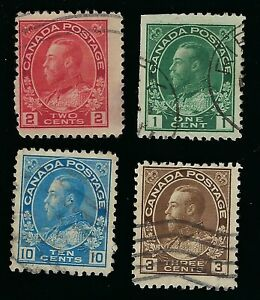 1912-25 CANADA KING GEORGE V  1c,2c,3c & 10c USED STAMPS SC104, 106, 108 & 117