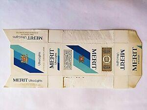 MERIT ULTRA LIGHTS PACCHETTO SIGARETTE EMPTY VUOTO CIGARETTES PACKET TOBACCO