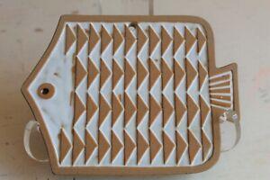 MCM Cute Art Pottery FISH TILE Wall Hanging TRIVET White Glaze ~ Stamp on Back