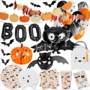 Kids Halloween Party Decorations Balloons Tableware Backdrop Supplies Bat Ghost