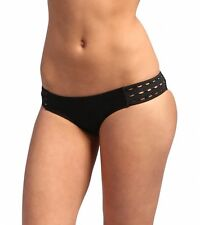 VOLCOM OPTIONS OPEN RETRO BIKINI CUT OUT SWIM BOTTOMS BLACK SOLID XLARGE NEW $40