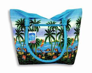 "Waterproof Large Canvas Beach Bag Palm Tree Tropical Fish Dolphin 21 x 15 x 6"""