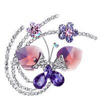Austria Crystal Clear White Purple Rhinestones Rhodium Plated Flower Brooch Pin
