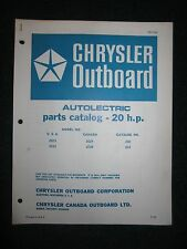 1969 Chrysler Outboard 20 HP Parts Catalog Manual Autolectric 2023 2033 2024 +