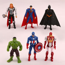 6pcs Set Super Hero Captain America Hulk Batman Iron Man Action Figure Model Toy