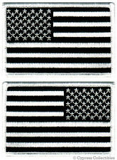 LOT TWO AMERICAN FLAG iron-on BIKER PATCH UNITED STATES ALL-BLACK PATRIOTIC new