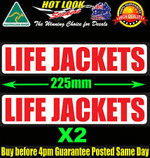 LIFE JACKETS Decals X 2 Warning Fishing Boat Safety sticker Yacht Dingy