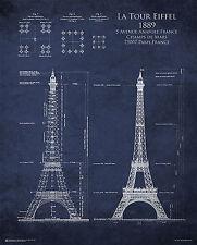 EIFFEL TOWER BLUEPRINT - POSTER - 24x30 PARIS FRANCE 10395