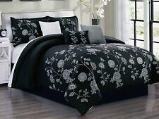 7-Pc Lenka Floral Blossom Leaves Embroidery Comforter Set Black Gray White Queen