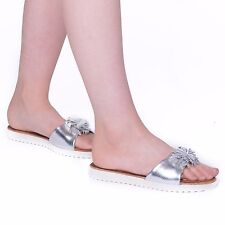 NEW WOMENS PEEP TOE SLIP ON FLIP FLOPS LADIES FLAT SUMMER SANDALS BEACH SHOE
