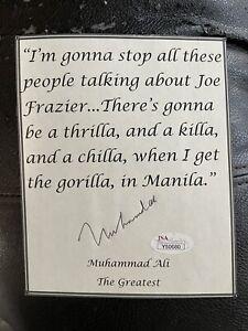 Muhammad Ali JSA Coa Hand Signed Quote Page JSA Authentication.