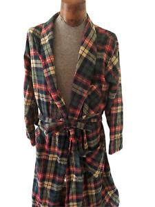 VTG L.L. BEAN Men's Plaid Flannel Belted Bath Robe Size Medium Made In USA