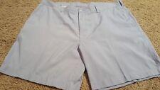 ALAN FLUSSER Shorts, Size 42 Seersucker Blue & White, Zipper, 4 pockets
