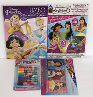 4pc Disney Princess Jumbo Coloring & Activity Book Crayons Sticker Story Markers
