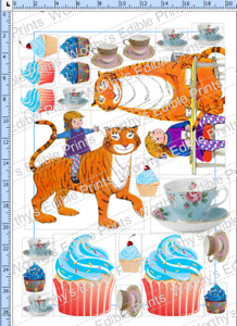 The Tiger Who Came To Tea, Inspired Printed Cake/ Cupcake Topper Edible Icing BL