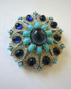 Stunning Vintage Panetta Blue Turquoise Crystal Rhinestone Domed Brooch Pin