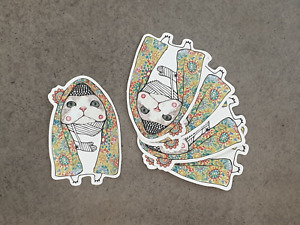 Cat in blanket and bandage sticker pack x 5