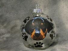 HAND MADE ROTTWEILER PUPPY GLASS CHRISTMAS ORNAMENT / BALL