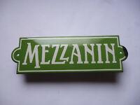 MEZZANIN Jugendstil Wien  Orig. altes Emailschild um 1915  Halb-/Zwischengeschoß