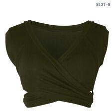 Tops Shirt Women Bandage Sleeveless Blouse V-Neck Tank Vest Casual Short Crop