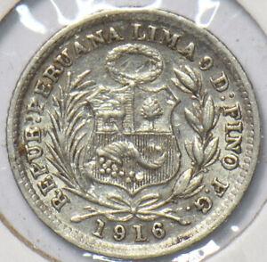 Peru 1916 1/2 Dinero 192693 combine shipping