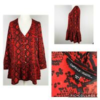 CAPSULE Red Snake Print Smock Tunic Top Tiered Hem Size 12 (D1)