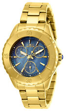 Invicta Women's Watch Angel Blue Oyster Dial Yellow Gold Bracelet 29108