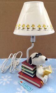 Vtg Peanuts Snoopy Joe Cool Woodstock Table Lamp Westland Giftware #8266 W/Box