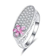 Wedding Flower Jewelry Pink & White Topaz & Garnet Gemstone 925 Silver Ring New