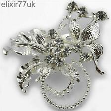 NEW SILVER FLOWER BOUQUET BROOCH DIAMANTE CRYSTAL PARTY WEDDING BRIDAL BROACH UK
