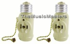 2X Lamp Socket Converter with 2 AC Outlets Bulb Holder & Pull Chain Switch IVORY