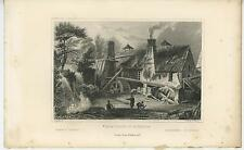 ANTIQUE BOUILLON BELGIUM IRON FORGE WORK SHOP WATERFALL WATER MILL CHIMNEY PRINT