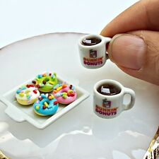 Dollhouse Miniatures Food Bakery Doughnut Mini Dunkin Donuts Hot Coffee Cup Set