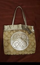 Authentic COACH LAURA Gold And Brown Large Signature Tote Shoulder Bag Purse EUC