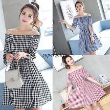 Korean Women Slim Off Shoulder Empire Waist Checks Plaids A Line Summer Dress S