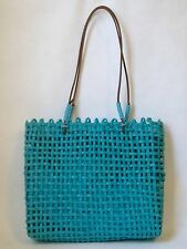 Turquoise Paper Straw Purse Tote Handbag Leather Handles Blue Lined Bag Gift