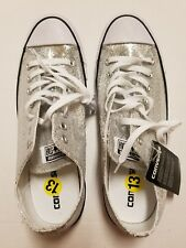 Converse Womens13 Mens 11 Sneakers All Star Low Silver Glitter Chuck Taylor NWOB