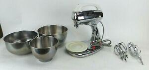 Vintage 1950's Hamilton Beach Scovill Mod 25 Stand/Hand Mixer Chrome W/SS Bowls