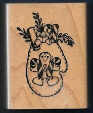 MITTEN COLLAGE Cookie Candy Cane Bear DELAFIELD E528 Wood Craft RUBBER STAMP