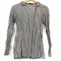 EILEEN FISHER Asymmetrical Zip Moto Jacket Crinkle Cotton Gray PETITE PP PXS XSP