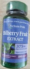 New Puritans Pride Bilberry Fruit Extract 375mg 100 Capsules Eye Health  x 8/19