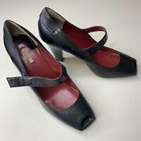 Max Studio Black Leather Square Peep Toe Mary Jane Heels Pumps Women's Size 8M