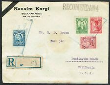 1931 Colombia Registered Bucaramanga to California via Barranquilla and New York