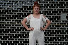 Damen Overall weiß schulterfrei Gr. 44 True Vintage 90s Women jumpsuit white