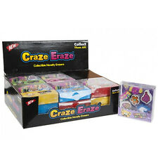 6PC CRAZE ERAZE RUBBER ERASER FUN SCHOOL GIFT STATIONARY NOVELTY PENCIL RUB NEW